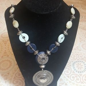 Chico' Blue Boho, Medal Necklace Approx 13""